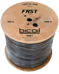 Витая пара BiCoil FAST UTP Cat.5e 4PR CCA 0.51 мм PE Outdoor 305м
